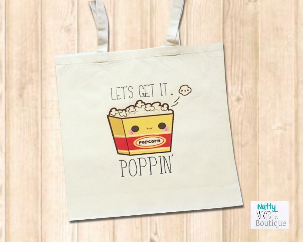 Canvas Tote Shopper Bag - Novelty Kawaii Popcorn - Let's Get It Poppin'