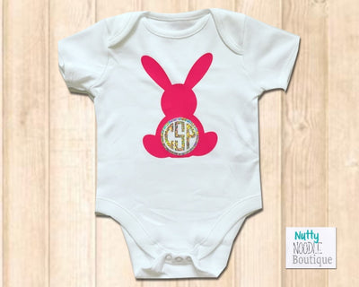 Baby Grow - Cute Pink Bunny | Personalised Monogram