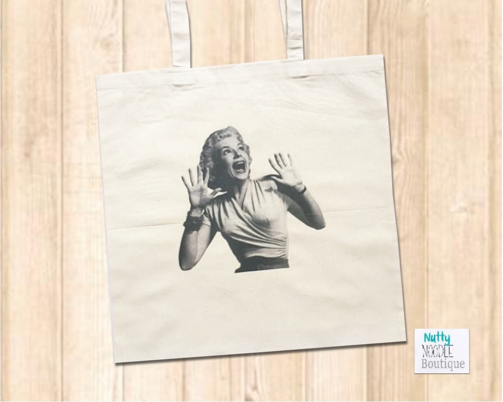 Canvas Tote Shopper Bag - Retro Vintage Black & White Image - Shocked Lady