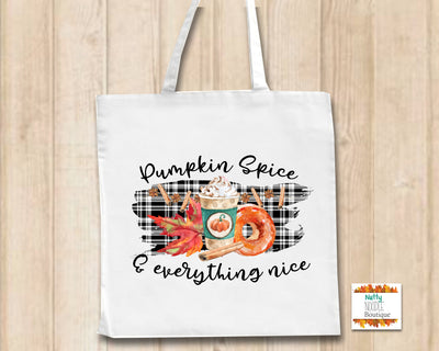 Canvas Tote Shopper Bag - Pumpkin Spice Design | Fall/Autumn