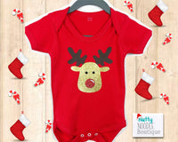 Christmas Glitter Effect Rudolph The Reindeer Baby Grow