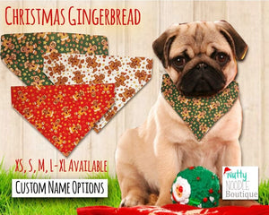Dog Bandana - Christmas Gingerbread Print | Red, Green or Cream | Custom Name Options