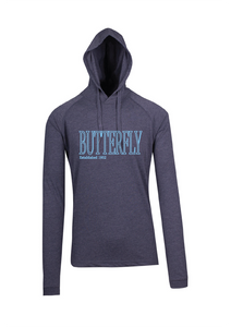 Long Sleeve Hooded Top- Butterfly est 1952 Navy Marle