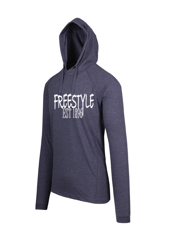 Long Sleeve Hooded Top- Freestyle est 1896 Navy Marle