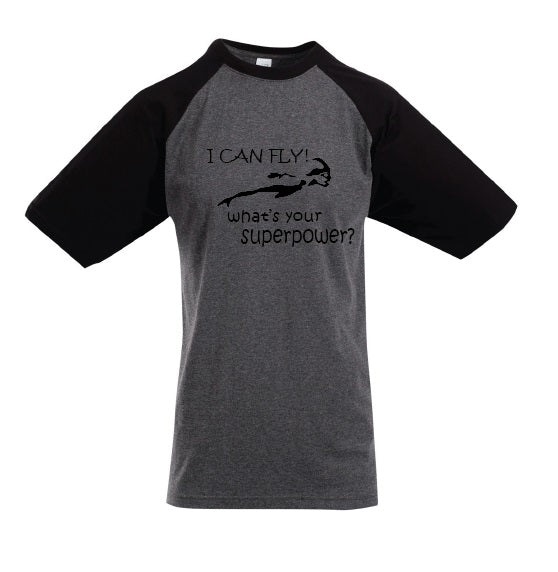 "Sleepwear short sleeve raglan sleeve tee Charcoal Marle/Black - "" I Can Fly What's Your Superpower"""