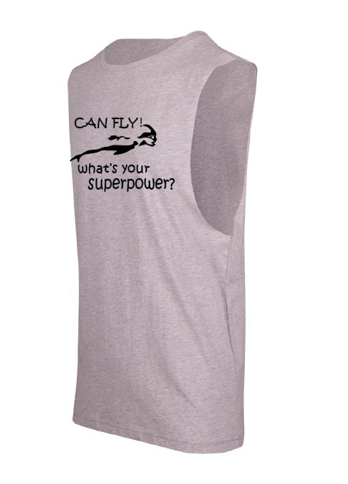 Sleepwear sleeveless tee Grey Marle/Black - I Can Fly What's Your Super Power