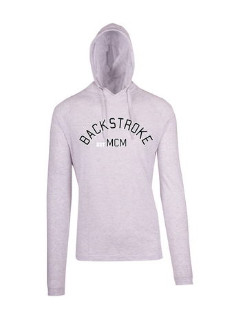 Long Sleeve Hooded Top- Backstroke est1900 White Marle