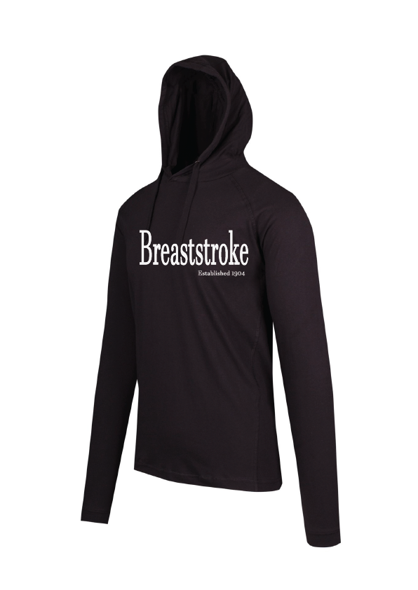 Long Sleeve Hooded Top -Breaststroke est 1904 Black
