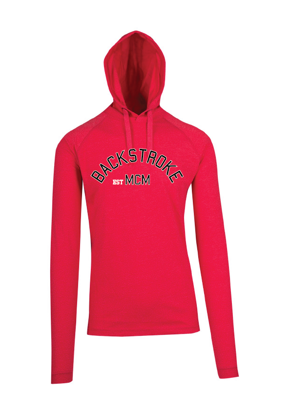 Long Sleeve Hooded Top- Backstroke est 1900 Red Marle