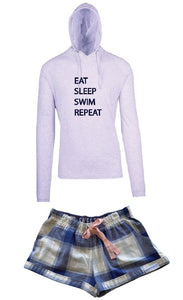 Sleep short check f'ette pyjama with hooded white marle sleep top