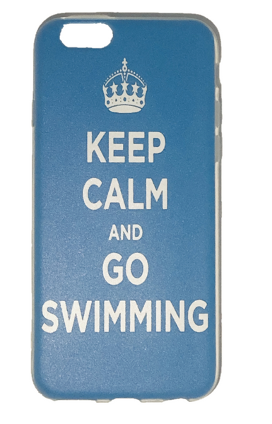 IPhone Cover - Keep Calm and Go Swimming- Blue