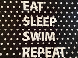 "Pillowcase -""Eat Sleep Swim Repeat"" Black & White Spot"