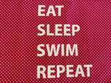"Pillowcase -""Eat Sleep Swim Repeat"" Hot Pink & White Pin Spot"