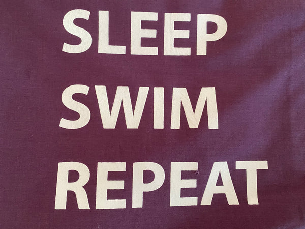 "Pillowcase -""Eat Sleep Swim Repeat"" Plain Purple"