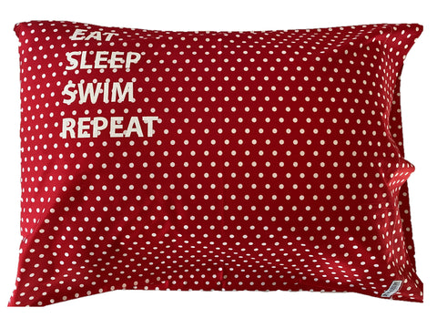 "Pillowcase -""Eat Sleep Swim Repeat"" Red & White Spot"