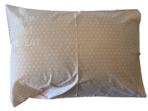 "Pillowcase -""Eat Sleep Swim Repeat"" Pink & White Spot"