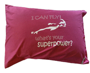 "Pillowcase -""I Can Fly"" Pink & White Spot"