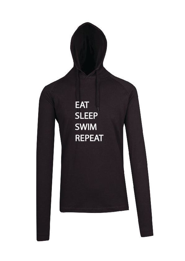 Sleepwear Long Sleeve Hooded Top Black - Eat Sleep Swim Repeat