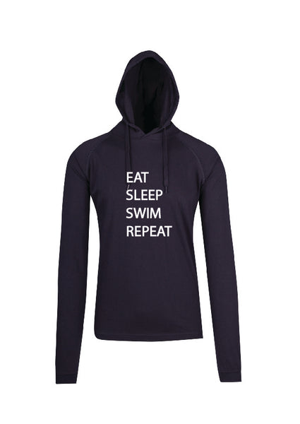 Sleepwear Long Sleeve Hooded Top Navy - Eat Sleep Swim Repeat