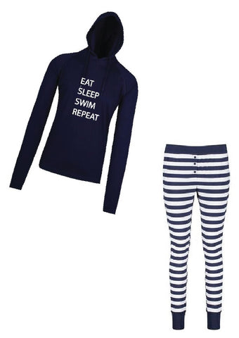 Pyjama Long Sleeve Hooded Top Navy with stripe pants - Eat Sleep Swim Repeat
