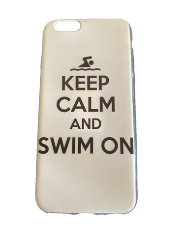 iPhone Cover - Keep Calm and swim on - White