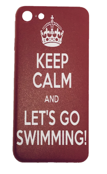 IPhone Cover - Keep Calm and Lets Go Swimming- Red