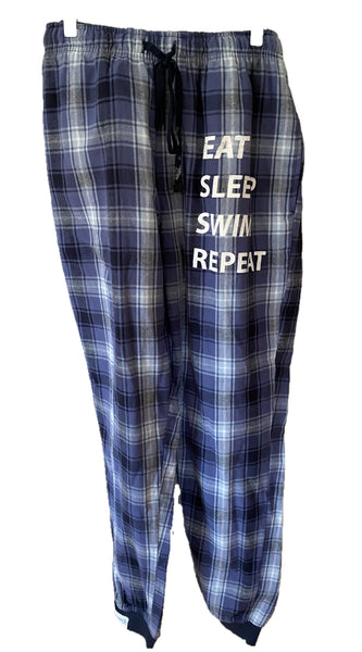Sleep Pant F'ette with Rib Cuff - Navy/Blue Check