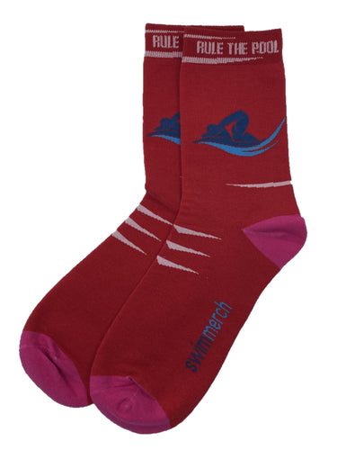 Socks - Rule the pool - Red/Pink