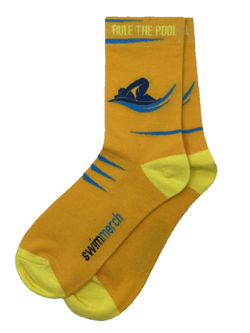 Socks - Rule the pool - Orange/yellow