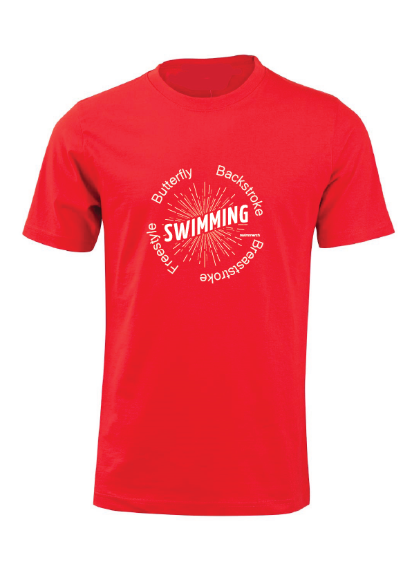 "Swimmerch Tee - ""Swimming"" Red"