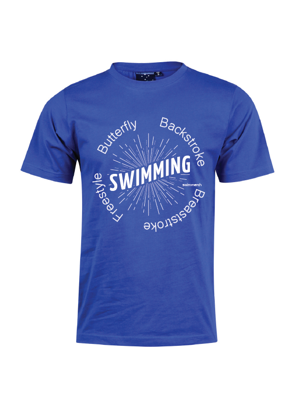 "Swimmerch Tee - ""Swimming"" Royal"