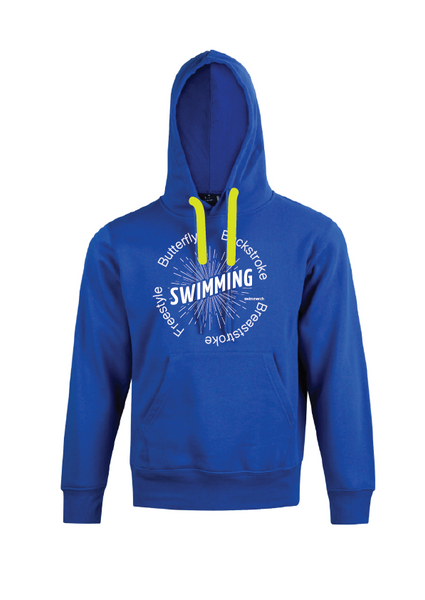 "Swimming Hoodie with print "" SWIMMING "" Royal"