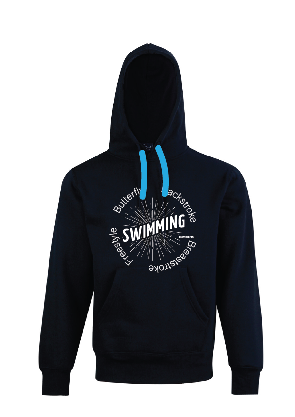 "Swimming Hoodie with print "" SWIMMING "" Navy"