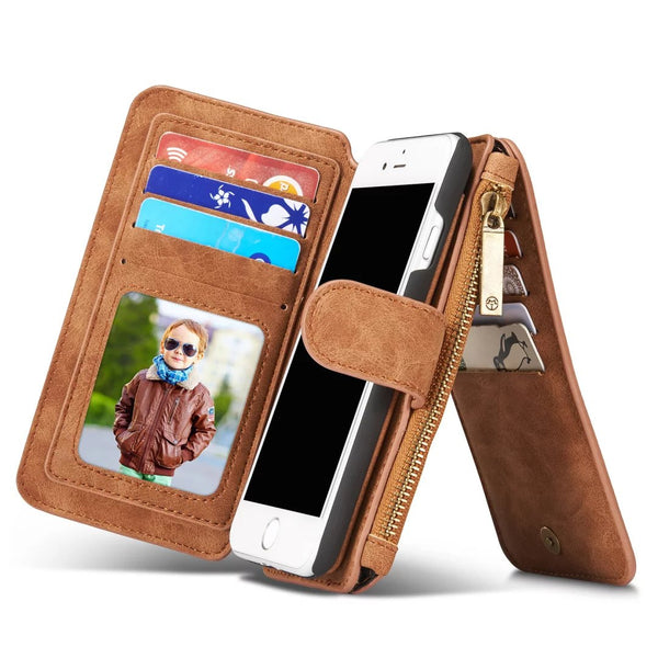 Genuine Leather Multifunction Wallet Case For iphone 7 7Plus Zipper Purse Pouch For iphone5 SE 6S Phone Cases
