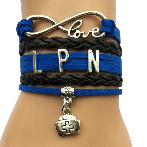 Drop Shipping  Infinity Love LPN Bracelet Nurse Charm