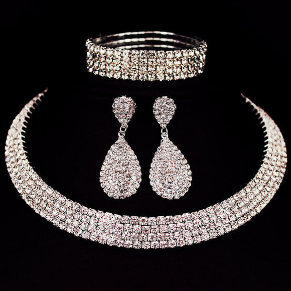 Classic Crystal Choker, Earrings and Bracelet Set