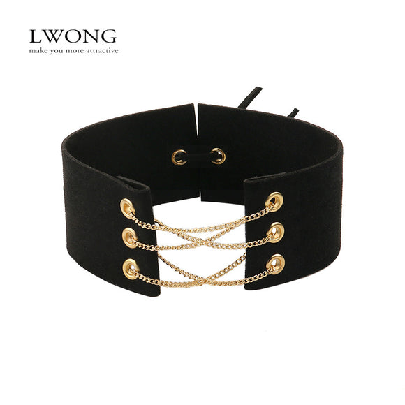Sexy Black Velvet Choker With Chains