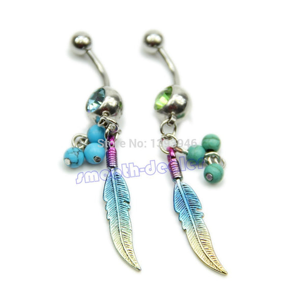 Feathers Shape Rhinestone Belly Jewellery