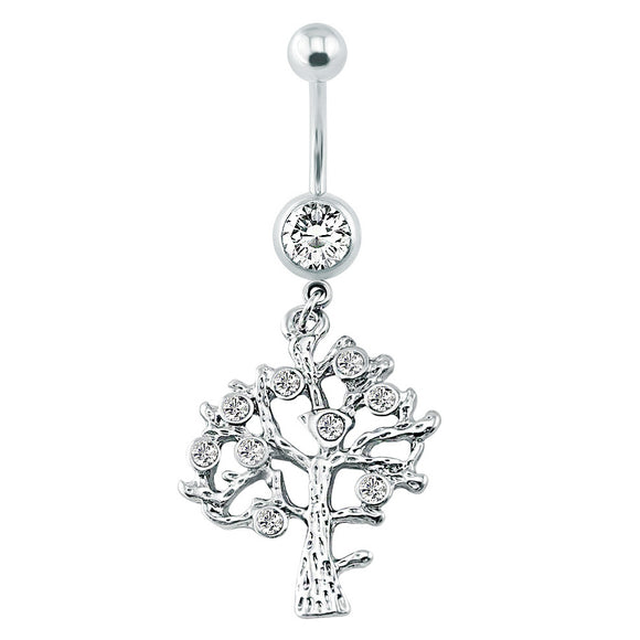 Tree Shaped Belly Ring With Crystal - Creative