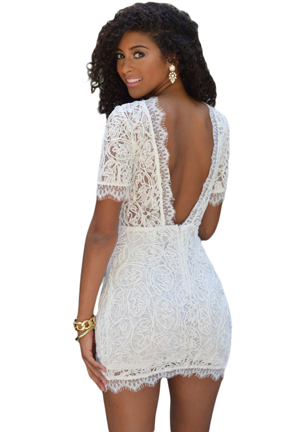 White Crochet Lace V Back Mini Dress