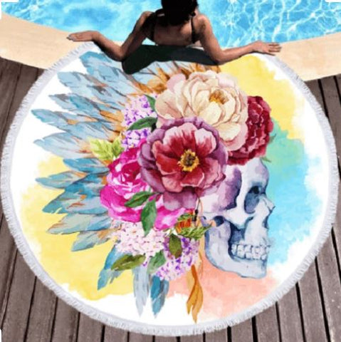 Colorful Skull Round Towel