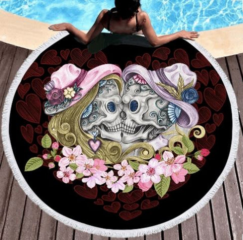 Skull Couples With Hat Round Beach Towel