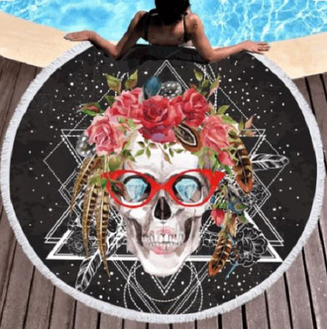 Sugar Skull with Glasses Round Towel