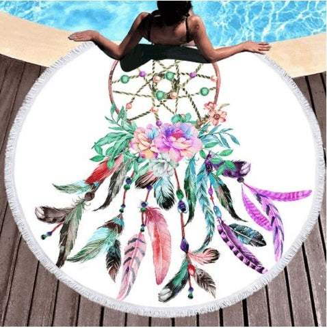 Flowers Feathers Dreamcatcher Beach Towel
