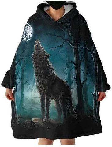 Howling Wolf Hooded Blankets