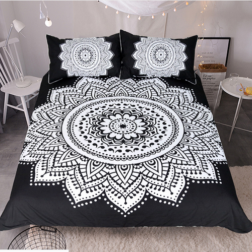 MANDALA BEDDING SET BLACK AND WHITE