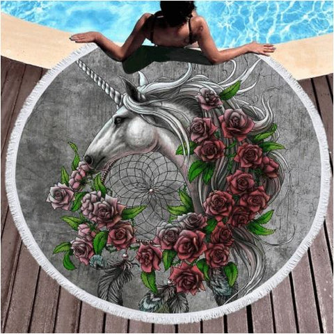 Unicorn Dreamcatcher Round Beach Towel