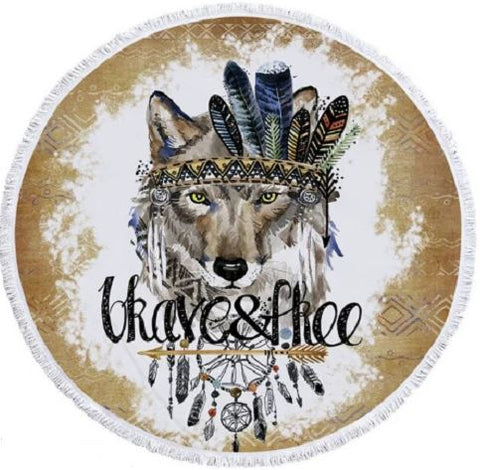 Tribal Wolf Round Towel