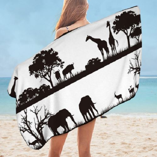 African Animal Bath Towel Bath Towel BeddingOutlet 75cmx150cm