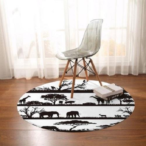 African Animal Round Carpet Floor Mat BeddingOutlet Diameter 60cm